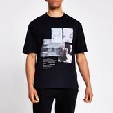 River Island Mens Black photographic print boxy fit T-shirt