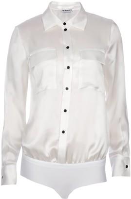 Ukulele White Front-Pocket Silk Blouse Bodysuit