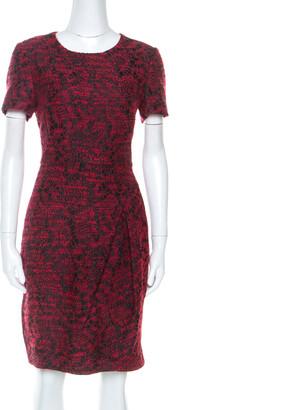 Carolina Herrera CH Red Wool Blend Jacquard Pleat Detail Dress M