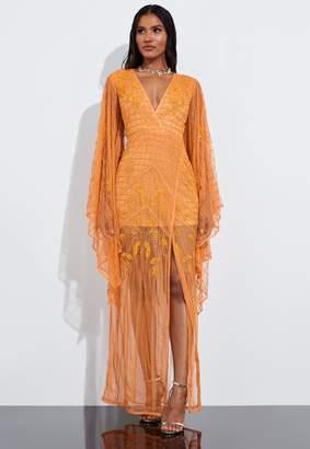 Missguided Orange Kimono Sleeve Embellished Dress