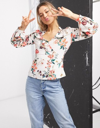Morgan plunge front peplum blouse in multi floral