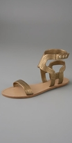 Metallic Double Ankle Strap Flat Sandal