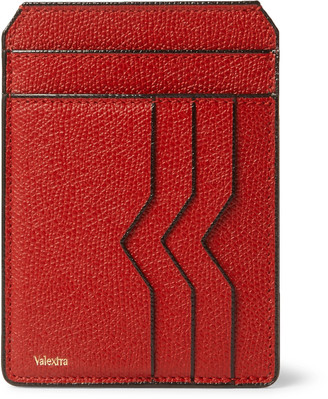 Valextra Pebble-Grain Leather Cardholder - Men - Red