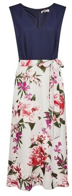 Dorothy Perkins Womens **Billie & Blossom Tall Navy Floral Print Midi Dress