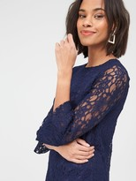 Very Lace Frill Sleeve Dress - Blue