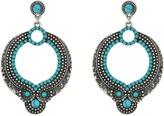 Steve Madden Round Blue/White Bead Dangling Post Earrings