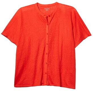 Eileen Fisher Mandarin Collar Shirt (Geranium) Women's Clothing