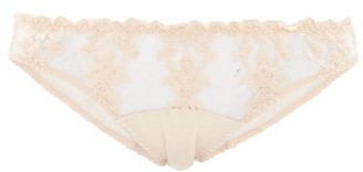 Fleur of England Dahlia Embroidered-lace Tulle And Satin Briefs - Womens - Light Beige