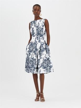 Oscar de la Renta Floral Fil Coupe Dress