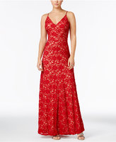 B. Darlin Juniors' Open-Back Lace Gown