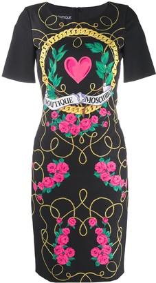 Boutique Moschino Logo Graphic Print Dress