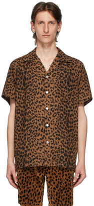 Wacko Maria Brown and Black Open Collar Shirt