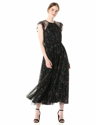 Jill Stuart Jill Women's Tea Length Flocked Tulle Rufffle Gown