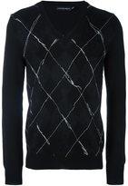 Alexander McQueen raw stitched argyle jumper