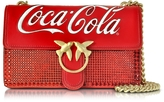 Pinko Love Cioccolato Red Leather Shoulder Bag w/Golden Chain