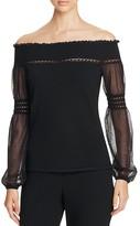 Elie Tahari Rita Off-the-Shoulder Merino Wool Sweater