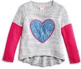 Design History Girls' Colorblock Heart Sweater - Sizes 2-6X