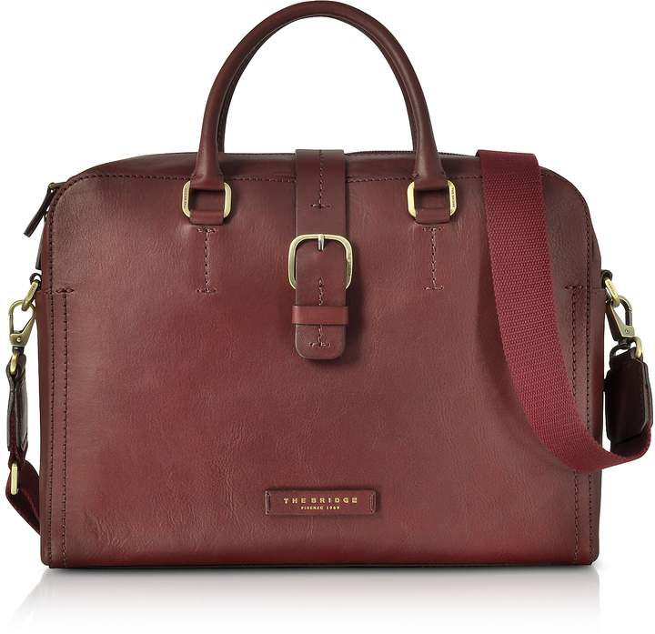 The Bridge Burgundy Leather Double Handle Briefcase w/Detachable Shoulder Strap