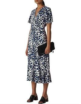 Whistles Brushed Leopard Button Dress