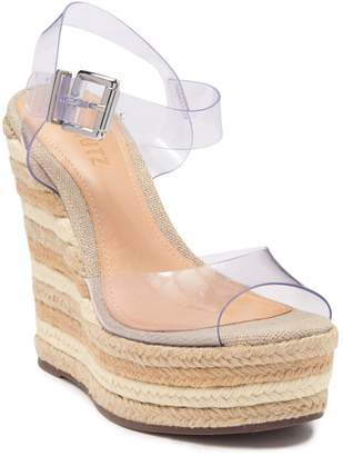 Schutz Kely Clear Ankle Strap Espadrille Wedge Sandal