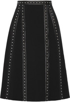 Altuzarra Steele Studded Satin-trimmed Crepe Skirt - Black