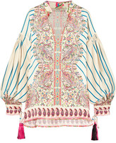 Etro Tasseled Printed Silk-satin Twill Blouse - Cream