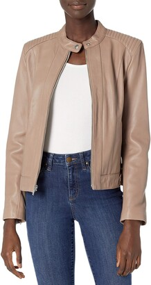 Cole Haan WOMENS Smooth Lamb Racer Jacket Beige Large