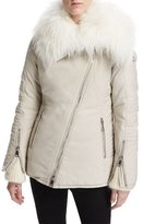 Moncler Choisia Asymmetric-Zip Jacket w/ Fur Trim