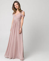 Le Château Chiffon Cold Shoulder Gown