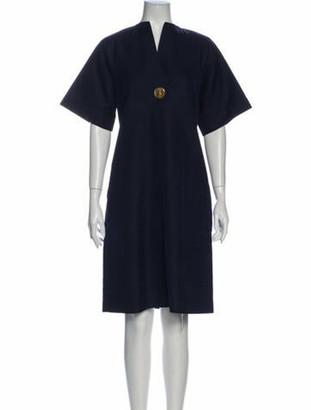 Celine V-Neck Knee-Length Dress Blue