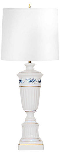 One Kings Lane Vintage White Porcelain Lamp w Blue Roses - Janney's Collection