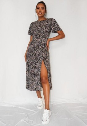 Missguided Lilac Floral Print Flutter Sleeve Midi Dress