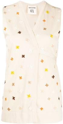 Semi-Couture Sleeveless Wrap-Style Cardigan