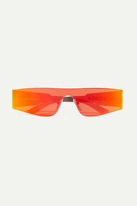 Balenciaga Square-frame Acetate Mirrored Sunglasses - Orange
