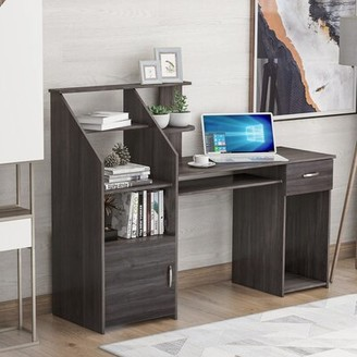 Latitude Run Aviendha Desk with Hutch Color: Gray
