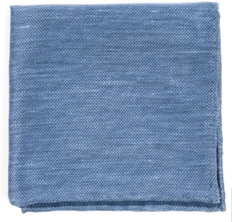 Tie Bar Festival Textured Solid Slate Blue Pocket Square