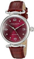 Akribos XXIV Women's AK878BUR Round Burgundy Dial Three Hand Quartz Stainless Steel Strap Watch