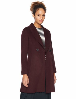 T Tahari Women's Caleigh Double Face Fitted Wool Coat with Slim Shawl Collar