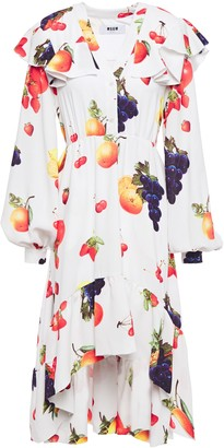 MSGM Ruffled Printed Crepe Dress