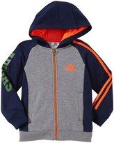 adidas Warm Up Fleece Jacket (Toddler/Kid) - Gray/Navy-3T