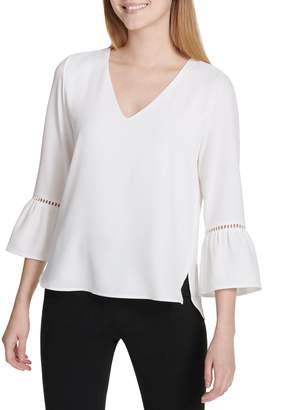 Calvin Klein Lace-Trimmed Bell-Sleeve Blouse