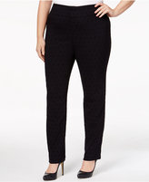 Charter Club Plus Size Flocked Dot-Print Pants, Only at Macy's