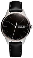 Uniform Wares C40psi01napblk1818r01 C40 Day Date Leather Strap Watch, Black