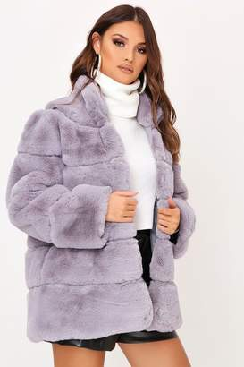 I SAW IT FIRST Grey Pelted Faux Fur Coat