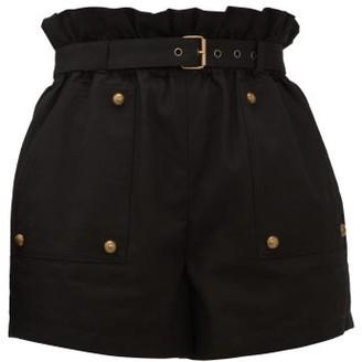 Saint Laurent Paperbag-waist Cotton-blend Shorts - Black