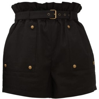 Saint Laurent Paperbag-waist Cotton-blend Shorts - Womens - Black