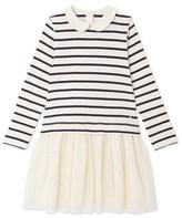 Petit Bateau Girls long-sleeved, mixed-fabric dress