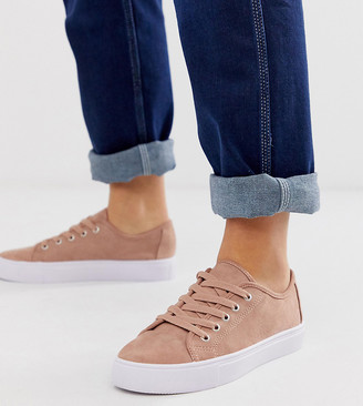 BEIGE Asos Design ASOS DESIGN Wide Fit Dusty lace up trainers in warm