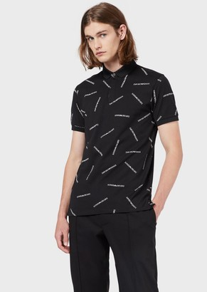 Emporio Armani Mercerised-Jersey Polo Shirt With All-Over Print