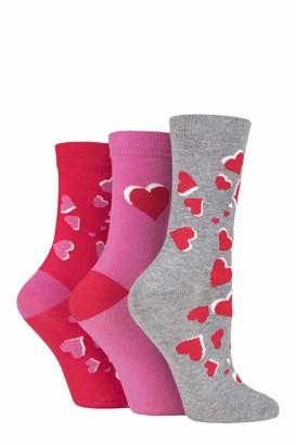 Lulu Guinness Ladies Hearts Cotton Socks Pack of 3 Pink 4-8